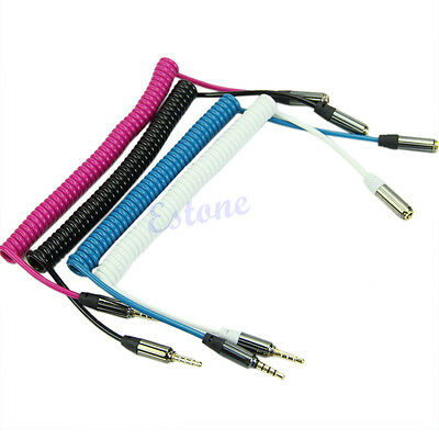 3.5mm Jack Male To Female Spring Aux Extension Cord Spiral Stereo Audio Cable