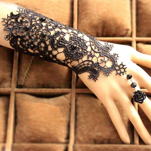 Hot New Fashion Bridal Lady Black Beaded Lace Flower Bracelet Ring Wedding