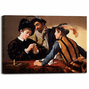 Caravaggio i bari design quadro stampa tela dipinto telaio arredo ...