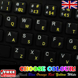 PORTUGUESE BRAZIL TRANSPARENT KEYBOARD STICKERS YELLOW
