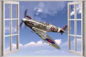 Cheap-3D-Window-view-Fighter-Plane-Spitfire-Jet-War-Wall-Sticker-Decal-417