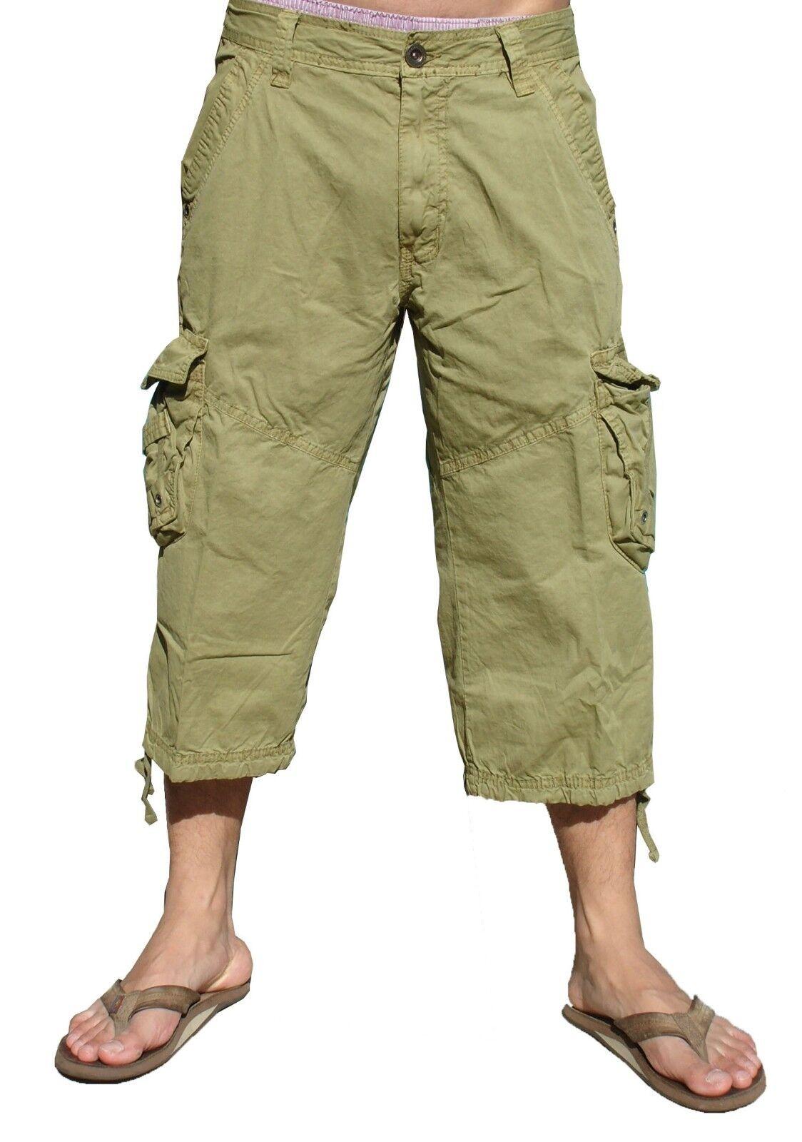 Mens 100% Cotton Cargo Capri Shorts, Inseam  19  Sizes 32 to 44  A7CA