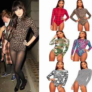 New-Ladies-Women-Polo-Turtle-Neck-Printed-Bodysuit-Long-Sleeve-Leotard-Top
