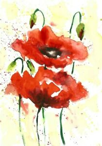 ACEO-red-poppy-flower-abstract-original-painting-watercolor-art-card