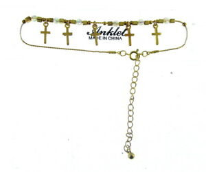 """Ankle Chain With Crosses Charms Considerate Golden Anklet 8"""" 9"""" 10"""" 11"""" prd"""