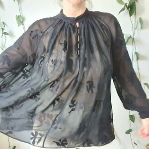 Country-Road-100-Silk-Oversized-Blouse-M-8-10-12-14-Sheer-Black-Floral-Boho