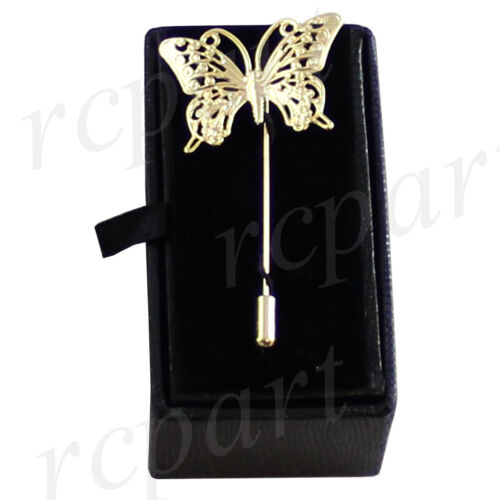 New in box Men/'s Suit brooch chest metal butterfly shape gold lapel pin formal