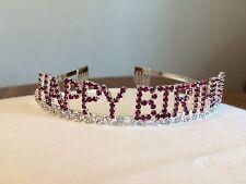 HAPPY BIRTHDAY Pink Rhinestone Comb Tiara Princess Party Crown NEW