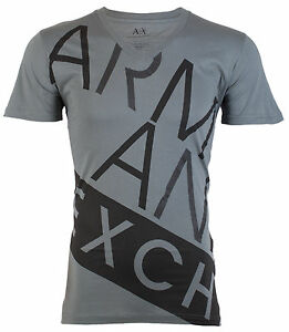 Armani-Exchange-BIAS-Mens-Designer-T-SHIRT-Premium-GREY-BLACK-Slim-Fit-45-NWT
