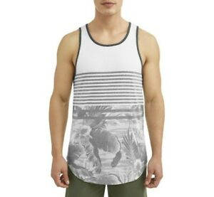 eaa00e98cbf Details about George Men's Tank Top Stripes Black and White Island Floral -  Multiple Sizes!