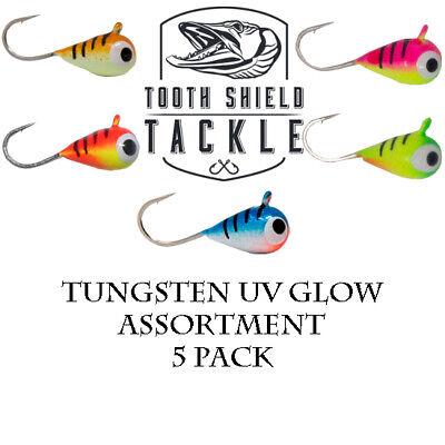 UV Glow Tungsten Ice Fishing Jigs Blue Tiger Crappie Bluegill Perch 5-Pack 4mm
