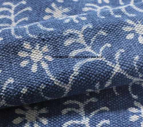 3 X 5 ft Indigo Blue Cotton Block Print Area Accent Dhurrie Rug Hand Woven Throw