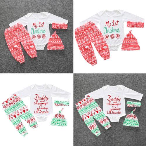 Baby Mädchen Jungen Mädchen Weihnachten Kleidung Strampler Hut Stirnband 4Stk