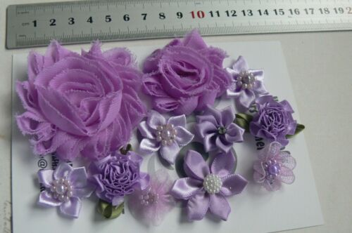 6 Pack Choice M4//5 NJC PLUM /& ORCHID Fabric Organza Satin Lace Flower 25-90mm
