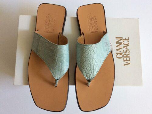 Gianni Versace Blue Crocodile Men's Slides Sandals