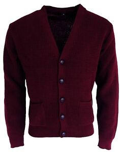 Men/'s Burgundy Waffle Knitted Football Button Front Mod Retro Relco Cardigan