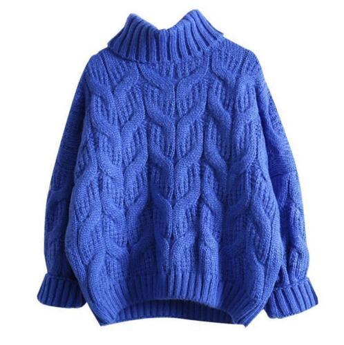 Chic Da Donna Collo Alto Misto Lana Allentato Maglione Pullover Camicetta Bambina Inverno