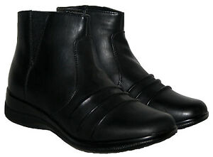 7c3bb7bea Details about Womens Annabelle Black Faux Leather Zip Up Winter Flat Ankle  Comfort Boots 3 -8