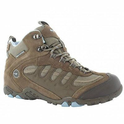 Hi-Tec PENRITH MID WP Womens Ladies Waterproof Trekking Hiking Boots Brown/Blue