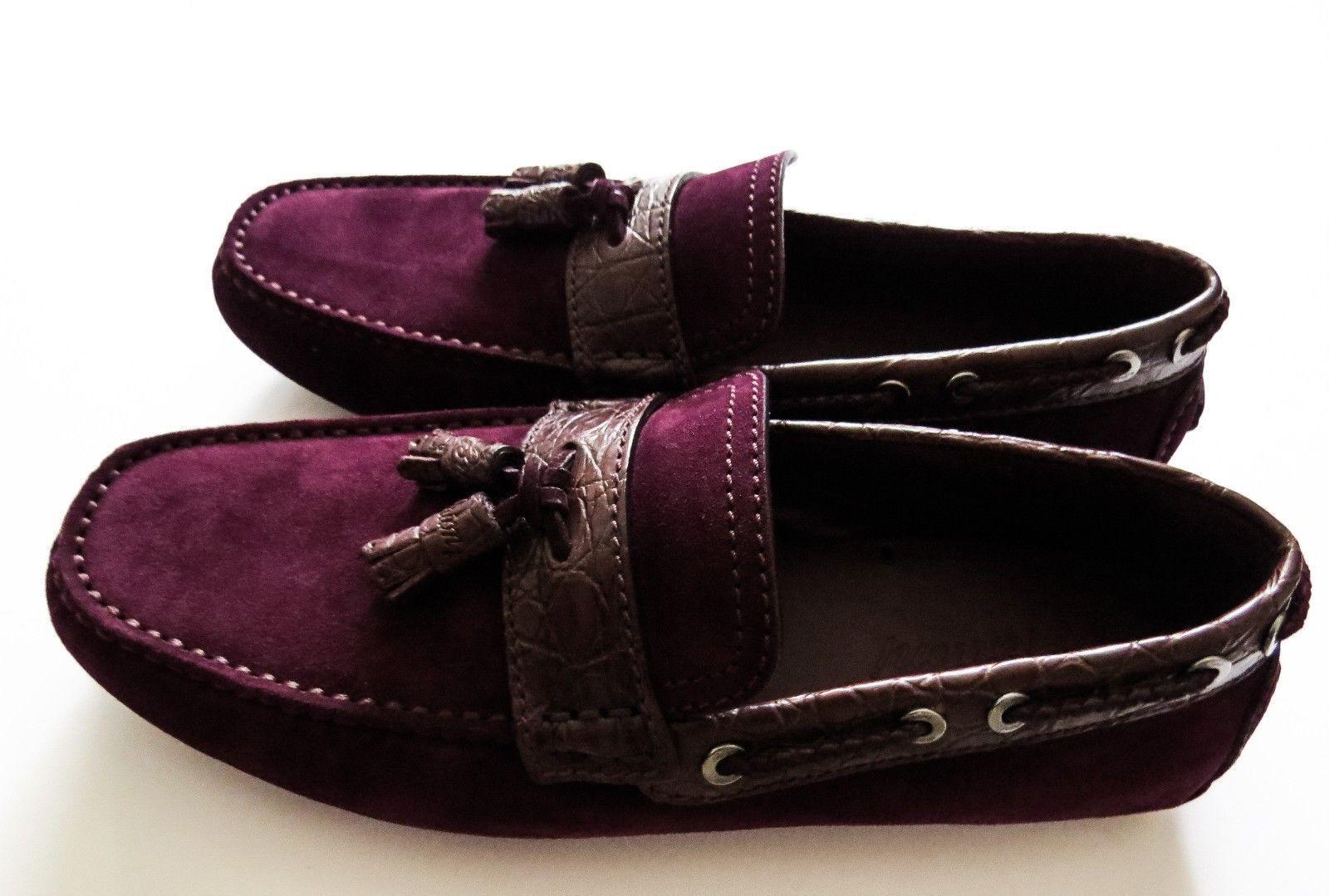 1075 BRIONI Suede Crocodile Leather Tassel Shoes Loafers 8.5 US 41.5 EU 7.5 UK