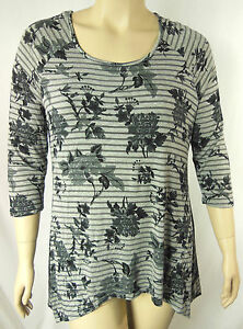 Autograph-Grey-Floral-Soft-Stretch-3-4-Sleeve-Tunic-Top-Plus-Size-16-BNWT-K90