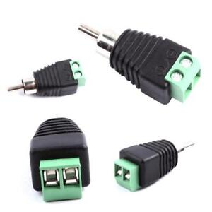 4Pcs Speaker Wire Cable to Audio Male RCA Connector Adapter Jack Plug Tool AU~