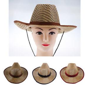 La foto se está cargando Hombre-Mujer-Paja-Sombrero-de-vaquero-Western -gorra- 118d4afd6522