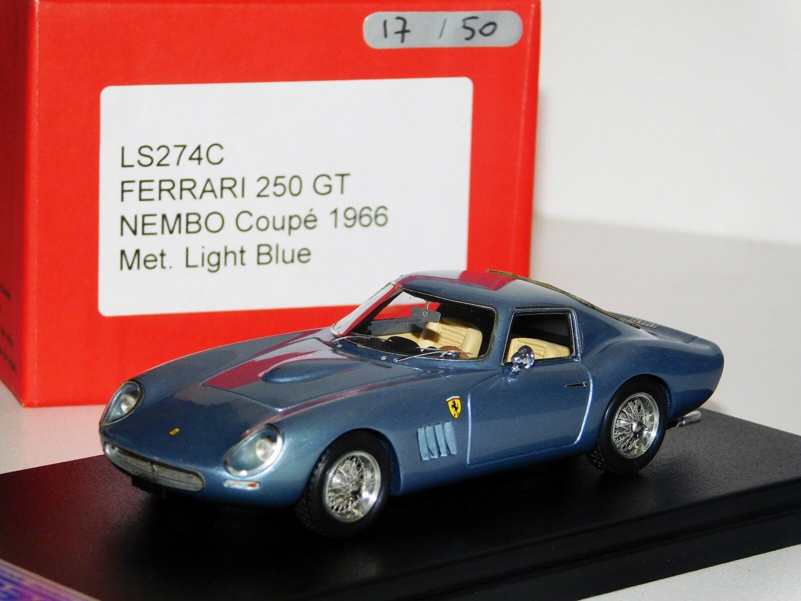 FERRARI 250 GT NEMBO COUPE 1966 LIGHT MET. Blau LOOKSMART LIM. 1 50 LS274C 1 43
