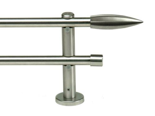 Art.160026 Gardinenstange mit 2 x Rohr 16 mm Edelstahl Optik ab 100 bis 600 cm