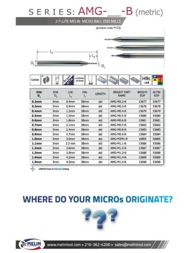 ".006/"" Diameter Melin Carbide End Mill Ball End STD Length 2FL Miniature Bright"