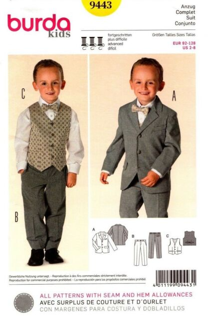 Burda Sewing Pattern 9443 Boys Suit Pants Vest Jacket Size 2-8