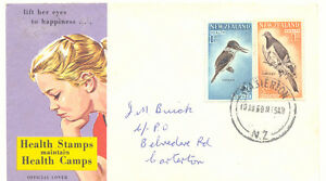 AU-NEW-ZEALAND-1960-superb-FDC-with-Health-Stamps-BIRDS-MASTERTON-N-Z