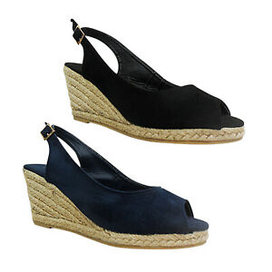 5871b744624 Details about WOMENS LADIES MID WEDGE HEEL ESPADRILLES BUCKLE PEEP TOE  SUMMER SANDALS SIZE