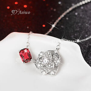 18K-WHITE-GOLD-GF-MADE-WITH-SWAROVSKI-CRYSTAL-ROSE-RED-PENDANT-FLOWER-NECKLACE