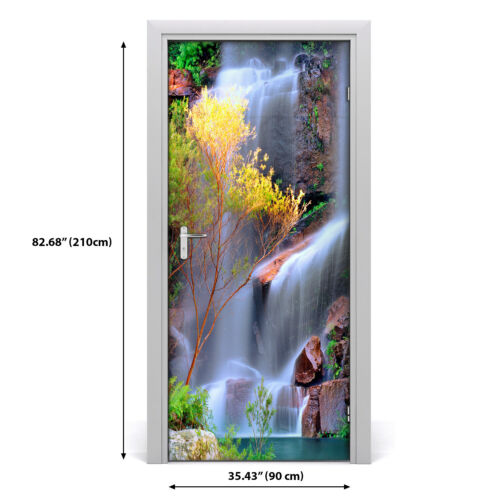 Details about  /Self adhesive Door Wall wrap removable Peel /& Stick Decal Landscapes Waterfall