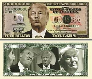Trump Presidential Million Dollar Bill Fake Funny Money Novelty Note FREE SLEEVE