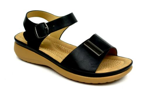 Ladies Women Easy Fasten Pin Buckle Soft Cushioned comfort Sandals UK Size 3-8
