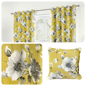 Fusion-CHARITY-Ochre-Yellow-Floral-100-Cotton-Eyelet-Curtains-amp-Cushions