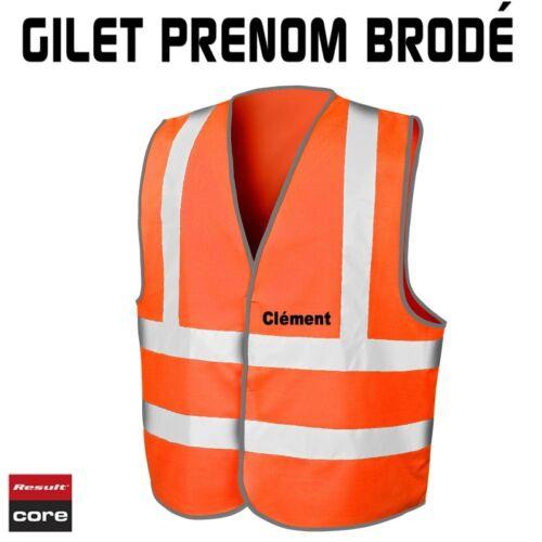 Fluorescent Orange Gilet de sécurité Brodé Personnalisable Result Core