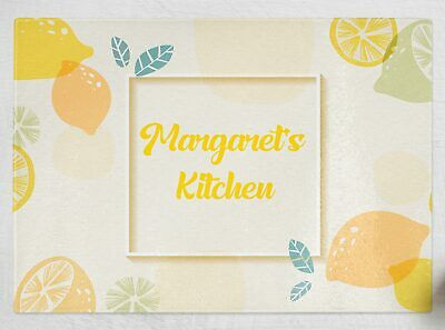 Personalised Any Name Orange Design Kitchen Glass Chopping Board Item Gift