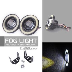 2x-2-5-034-pulgadas-LED-Luz-de-Niebla-Redondo-Blanco-COB-Ojos-de-Angel-Halo-Drl-Conduccion-Coche