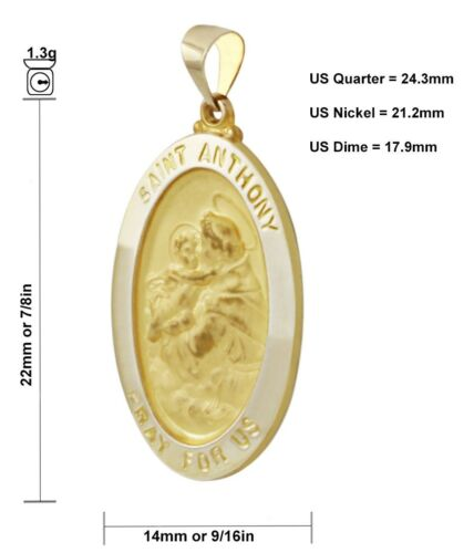 Anthony Medal Oval Pendant New 7//8in 14k Yellow Gold Hollow Saint St