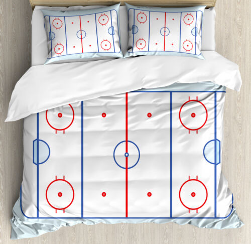 Hockey Duvet Cover Set with Pillow Shams Graphic Field Outline Print