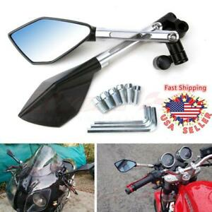 Motorcycle CNC Rearview Mirrors M8 M10 Silver Custom Cruiser Street Sport Bikes