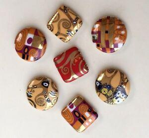 Detalles De 7 Magnetos Iman Nevera De Ceramica Gustav Klimt Arbol De La Vida Museo Nuevo