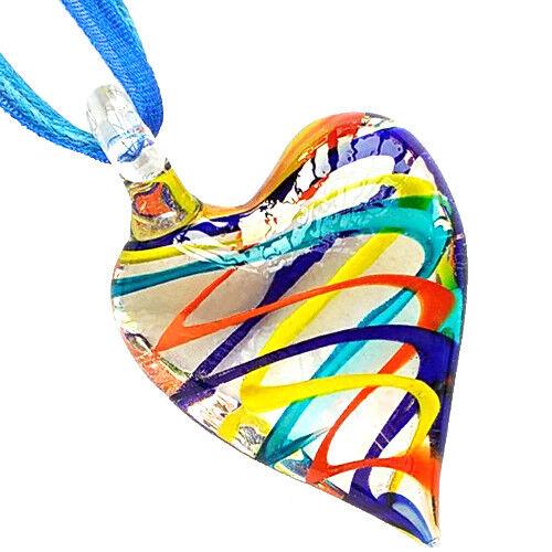 Claro del Remolino Corazón Murano Hechas a Mano Grano de Cristal Colgante Collar De Cinta Cable De Cera