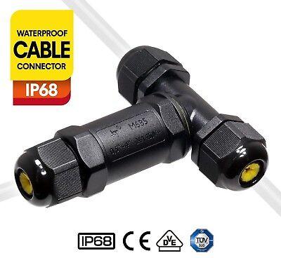 Gutherzig Ip68 Waterproof Cable Connector 3 Way Splitter Electrical Outdoor Power Lighting