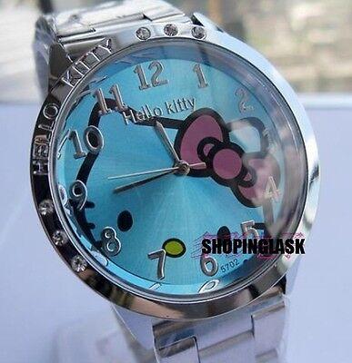 Reloj Hello Kitty watch en acero. Steel case watch A2086 Fondo Azul