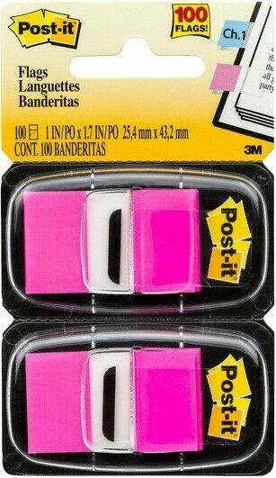Post-it 3M Index Flags 100 Tabs Pack 25mm x 43mm Twin Pack PINK NEW RRP $9.45