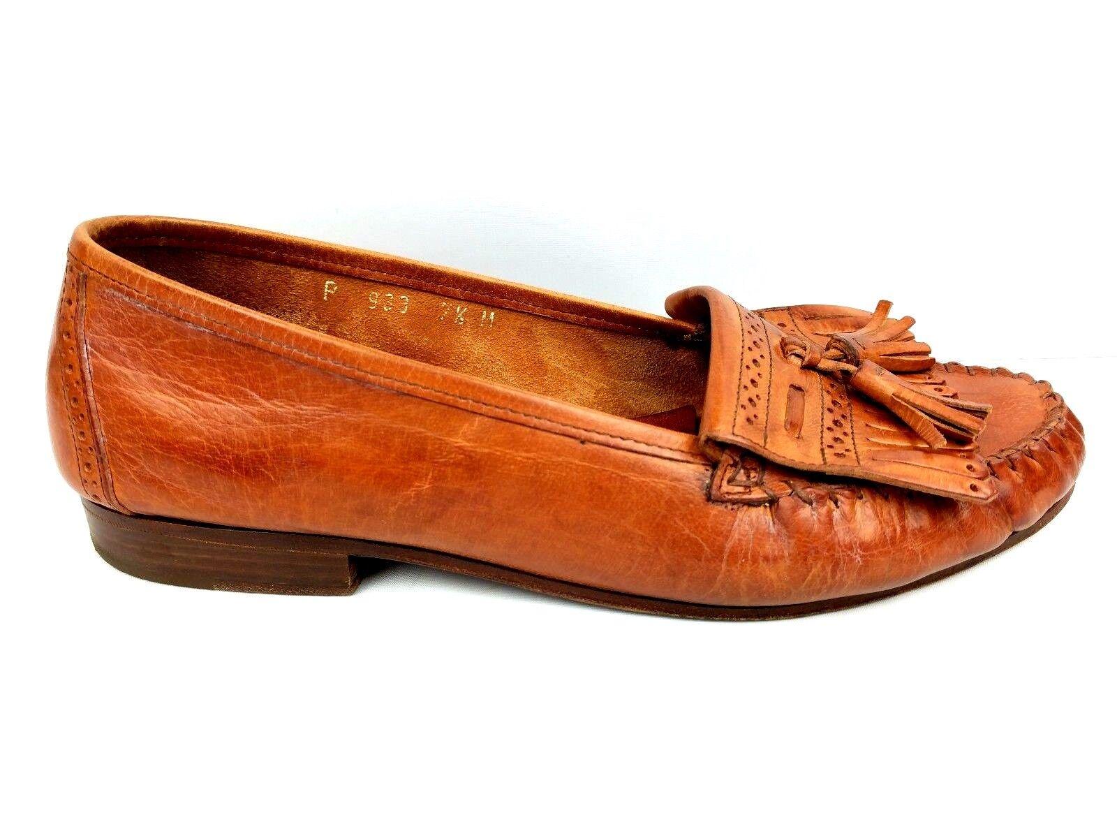 Cole Haan Womens Size 7.5 Brown Slides Slip On Tassel Kiltie  Loafer Casual